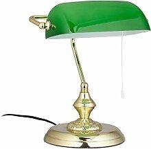 Relaxdays Lampe de banquier abat-jour vert bureau