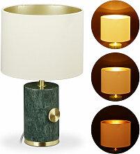 Relaxdays - Lampe de table en marbre, abat-jour,