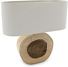 Relaxdays Lampe de table WOODRING tronc