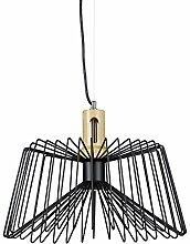 Relaxdays Lampe suspension cage GRID bois métal