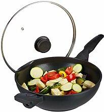 relaxdays, noir Poêle wok 30 cm avec couvercle