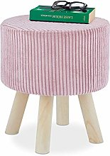 Relaxdays Pouf Coiffeuse, Rond, Petit Tabouret,