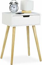 Relaxdays - Table de chevet, petit meuble, design