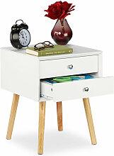 Relaxdays - Table de nuit, 2 tiroirs, meuble