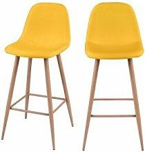 Rendez Vous Deco Chaise de bar Fredrik jaune 72.5