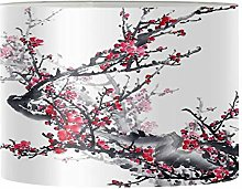 Renewold Abat-jour rond imprimé fleur de prunier