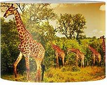 Renewold Abat-jour rond imprimé girafe pour lampe