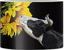 Renewold Abat-jour rond imprimé vache tournesol