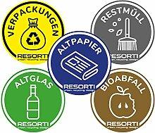 Resorti Lot de 5 autocollants pour tri sélectif