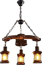 Rétro Bois Salle à Manger Pendante Lampe 3-Lampe