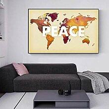 Rétro carte du monde affiches murales carte de la