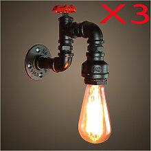 Retro Lampe Murale Industrielle 3PCS E27 LOFT