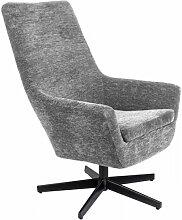 RETRO LOUNGE - Fauteuil de salon tissu gris