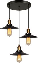 Retro Lustre Suspension Industrielle 3 Lumieres