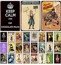 Rétro Vintage chocolat boisson plaques en métal