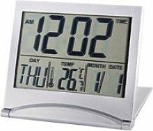 Réveil Blanc Mini Numérique LCD Pliable De
