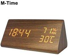 Réveil électronique en bois, horloge de Table