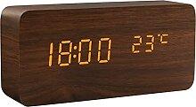Réveil,LED Montre en bois Chrosage numérique de