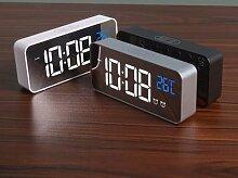 Réveil numérique musique, horloge de bureau,