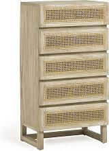 Rexit - Commode 5 tiroirs en bois et rotin