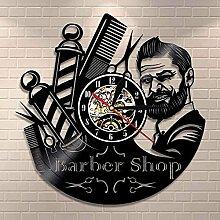 RFTGH Barber Shop Sign Horloge Murale Barbiers