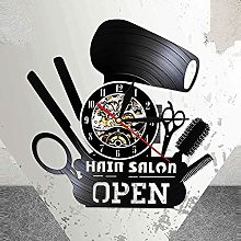 RFTGH Barbershop Horloge Murale Ouvert Disque