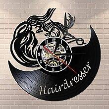 RFTGH Coiffeur Horloge Murale Noir rétro Horloge