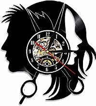 RFTGH Coiffure Horloge Murale Salon De Beauté