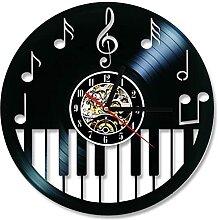 RFTGH Disque Vinyle Horloge Creux Piano Clavier