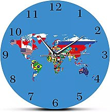 RFTGH Horloge Murale décorative, Drapeau, Carte