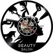 RFTGH Salon de Coiffure Horloge Murale Salon de