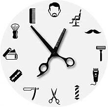 RFTGH Salon de Coiffure Horloge Murale Signe