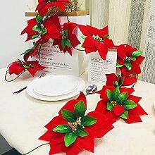 Riaxuebiy Guirlande de fleurs artificielles rouges
