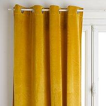 Rideau à œillets occultant velours, jaune