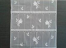Rideau brise-bise blanc 45 cm de largeur motif Lys