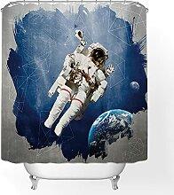 Rideau De Douche 3D Astronaute Espace Motif Terre
