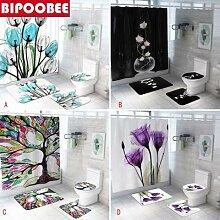 Rideau de douche antidérapant coloré, tulipe,