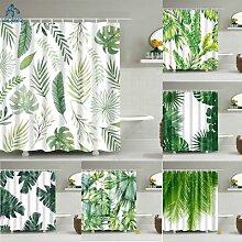 Rideau de douche avec motif plante verte