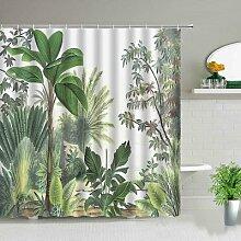 Rideau de douche avec paysage d'arbre vert,