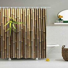 Rideau de Douche Bambou Plante Verte imperméable