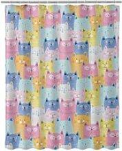 Rideau de douche chats multicolore