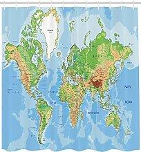 Rideau de Douche de Carte du Monde, Carte
