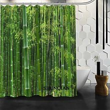 Rideau de douche de forêt en bambou, rideau de