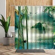 Rideau de douche de paysage chinois en bambou, lac