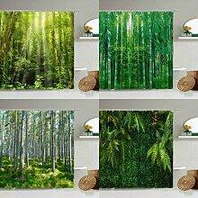 Rideau de douche de paysage naturel, forêt de
