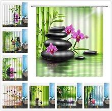 Rideau de douche en bambou plante verte, rideau de