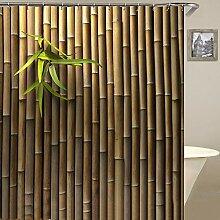 Rideau de douche en feuilles de bambou avec 12