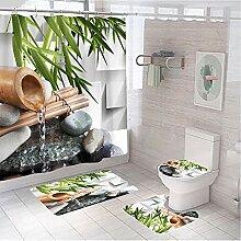 Rideau de douche en polyester avec motif de bambou