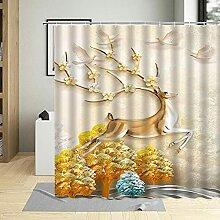 Rideau de Douche en Polyester Cerf Fleur Et Arbre