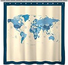 Rideau de douche en tissu de qualité avec pays et